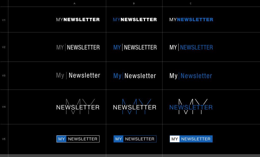 Francois Soulignac Gemey-Maybelline My Newsletter logotype and typography