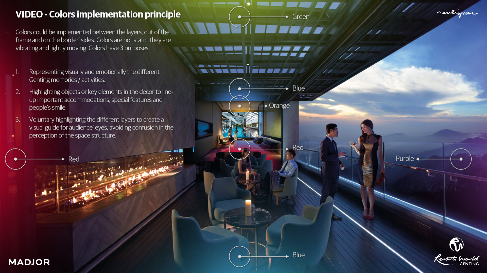 Resorts World Genting China Campaign - COLOR IMPLEMENTATION PRINCIPLE- Genting Highlands Resort - Malaysia - Francois Soulignac - Digital Creative and Art Direction - MADJOR Labbrand Shanghai, China
