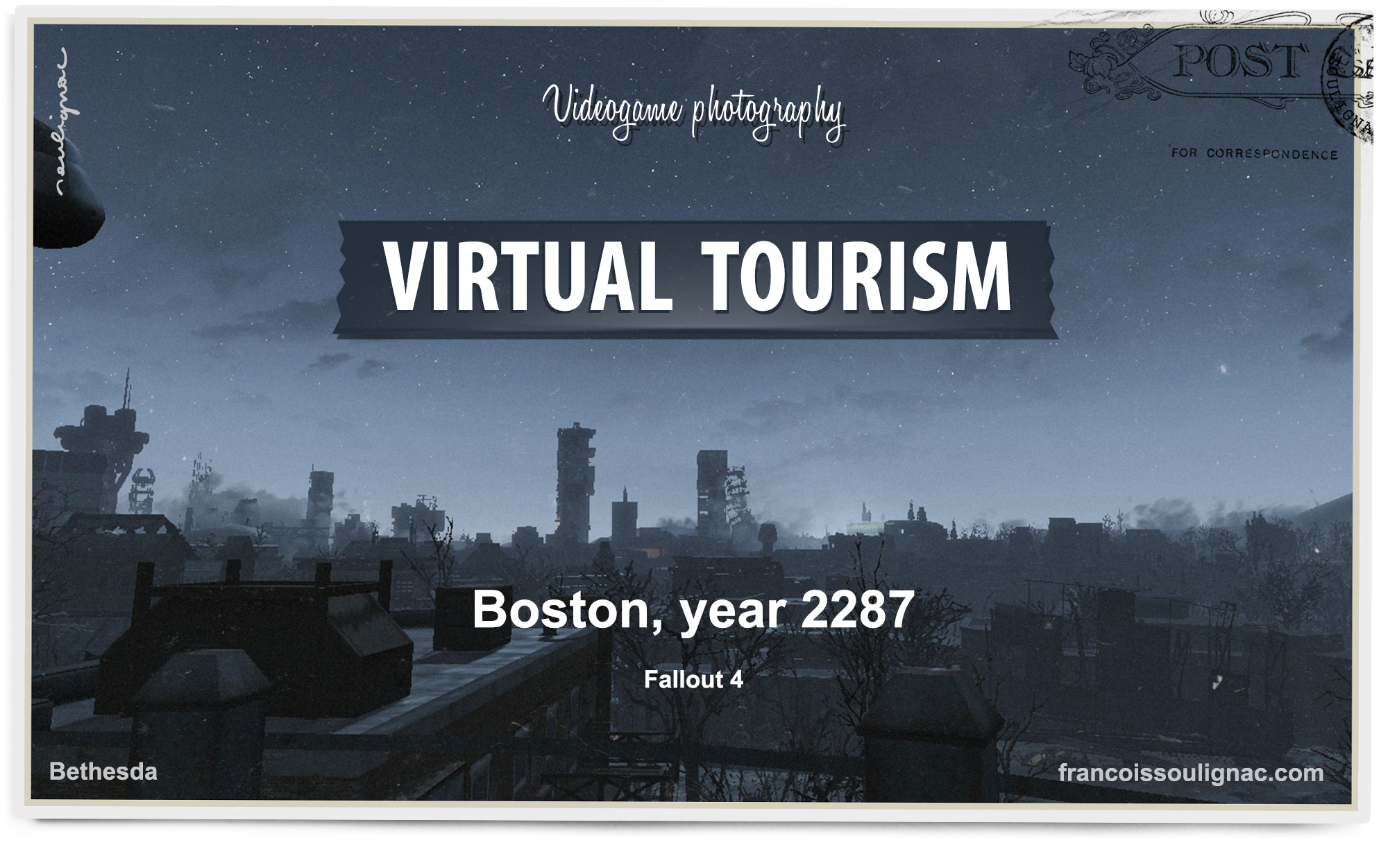 Virtual Tourism in Boston - Urban exploration in Fallout 4, Vintage Postcard from virtual worlds, In-game photography - © Bethesda Softworks - François Soulignac