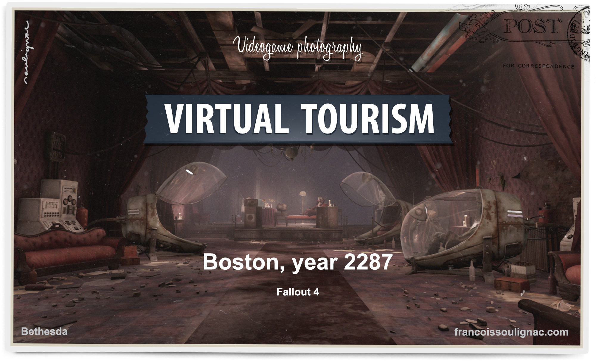 Virtual Tourism in Boston virtual reality room - Urban exploration in Fallout 4, Vintage Postcard from virtual worlds, In-game photography - © Bethesda Softworks - François Soulignac