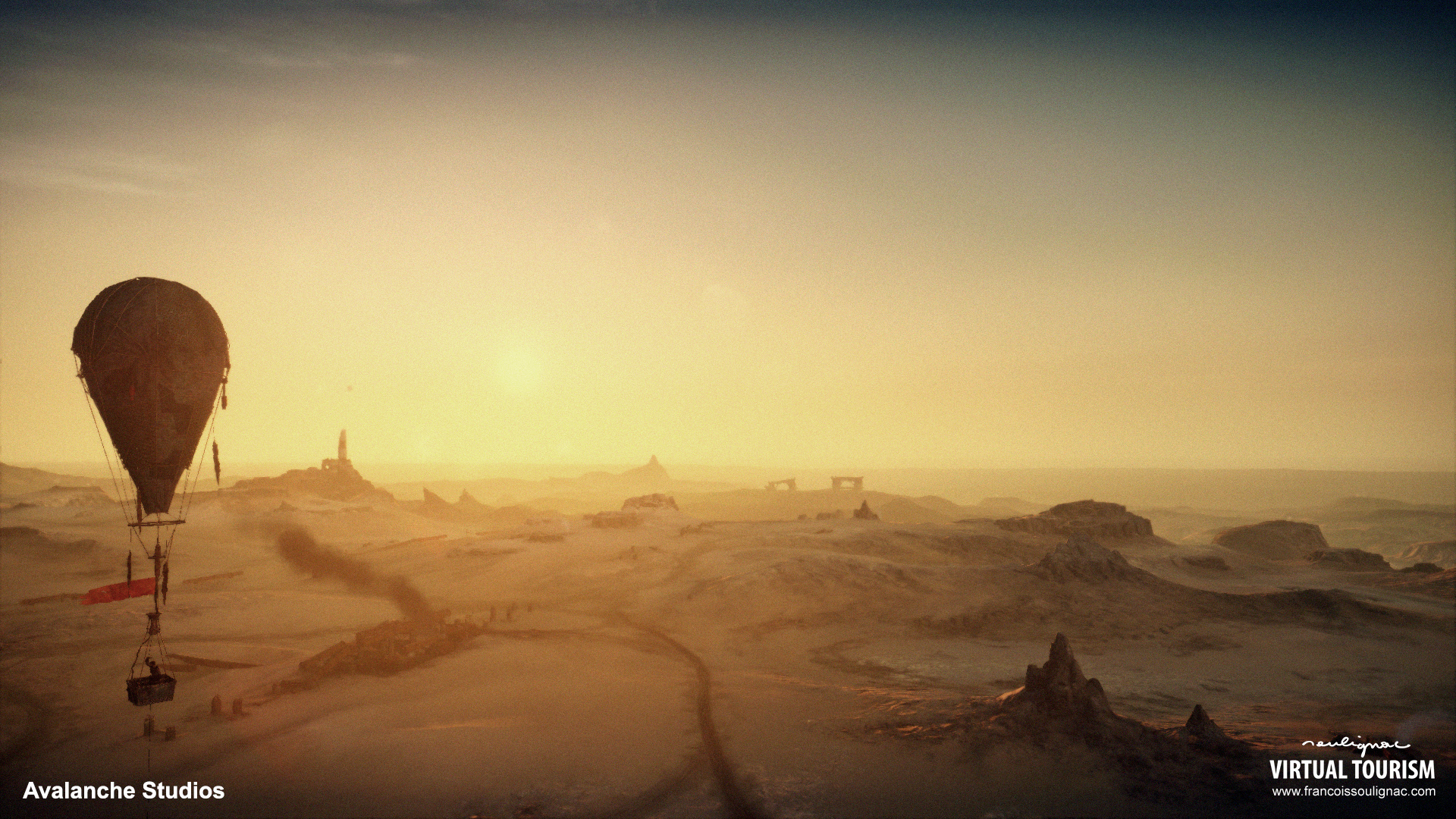 Virtual Tourism in desert of Wasteland (Australia, Namibia) - Aerial photography in Mad Max. © Avalanche Studios - François Soulignac