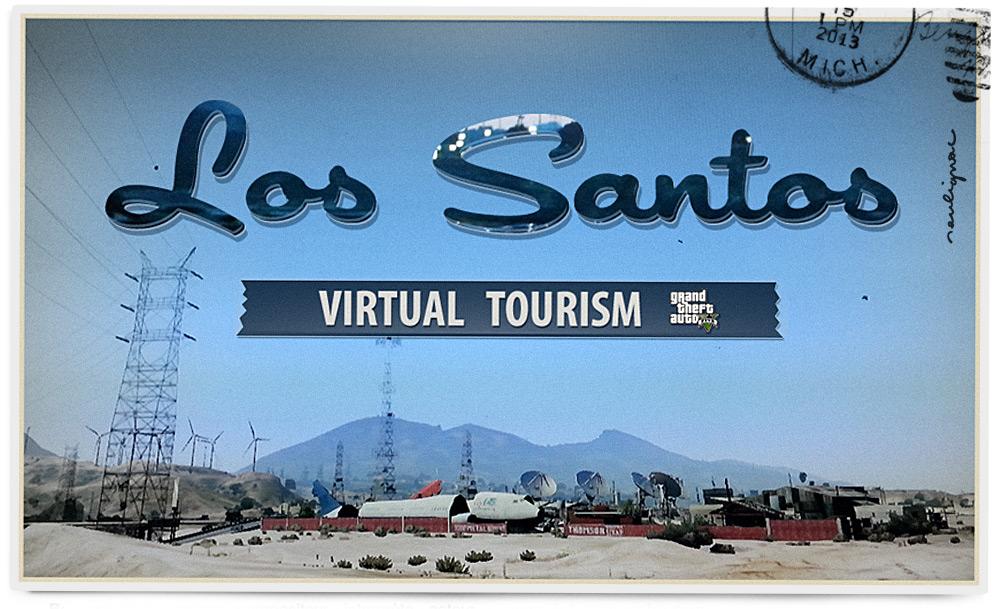 Francois Soulignac - Virtual Tourism in Los Santos - GTA 5 - V - Vintage postcard