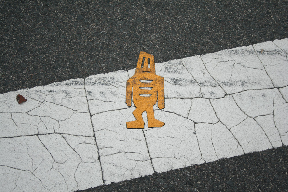 Boston Street Art, Yellow stikman in crosswalk, guy on the street