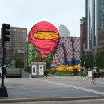 Boston Street Art - The Giant of Boston, Os Gemeos (panorama view from street)
