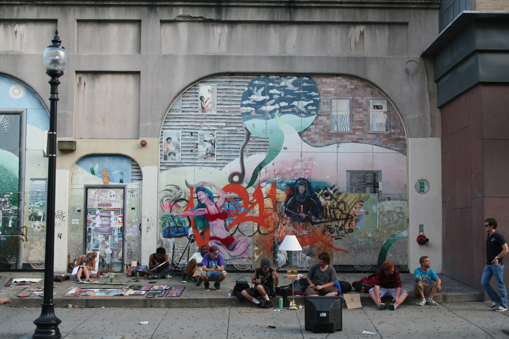 Boston Street Art with homeless