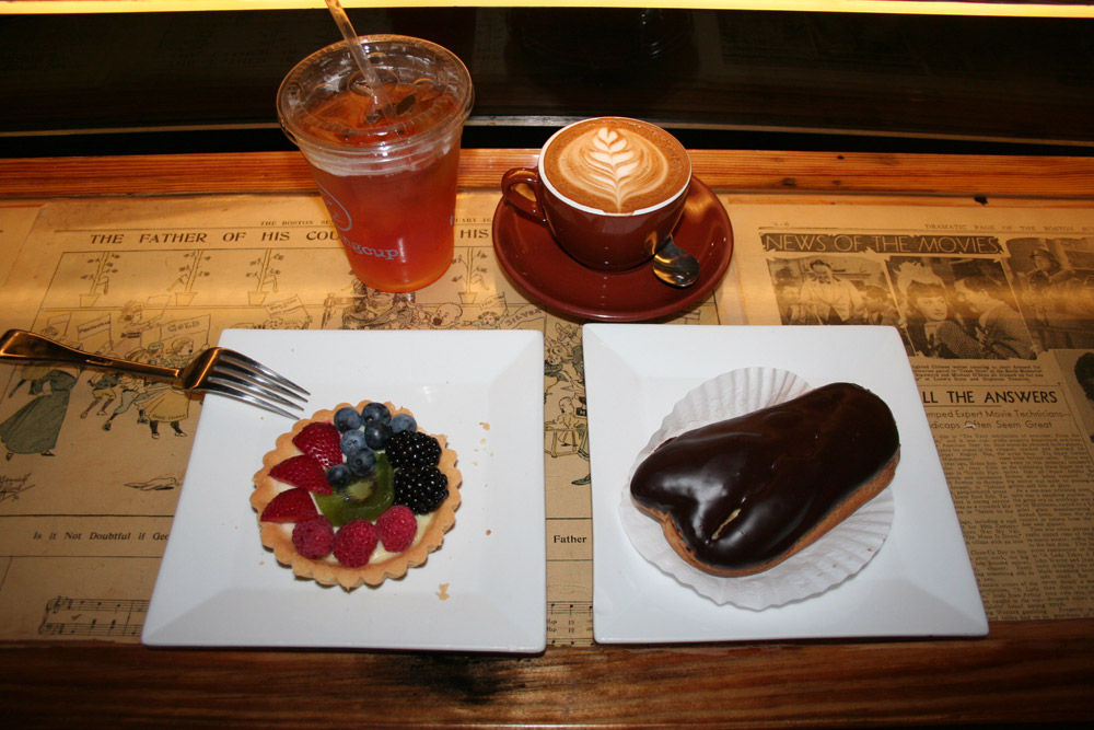 Boston food - Cappuccino, ice tea, eclair and pastries