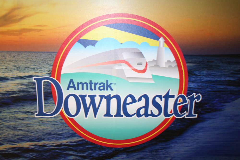 Boston Graphic Design, Amstrak Downeaster sign logo cover train station