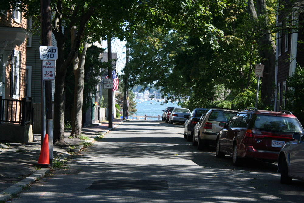 Salem Massachusetts - Little street with trees and sea view