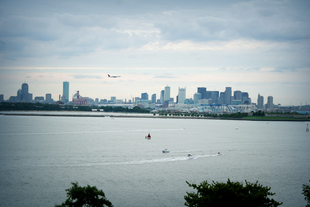 Boston Harbor, View from Spectacle Island, with plane, boats and clouds