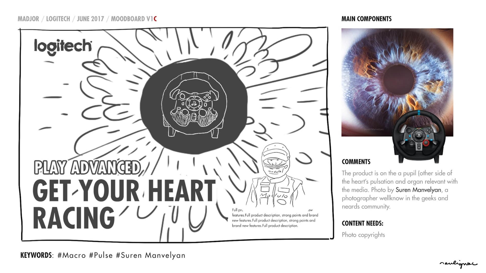 Logitech China - Global Campaign Keiichi Tsuchiya - GET YOUR HEART RACING - KEY VISUAL RESEARCHES & MOODBOARD - Francois Soulignac - Digital Creative & Art Direction - MADJOR Labbrand Shanghai, China