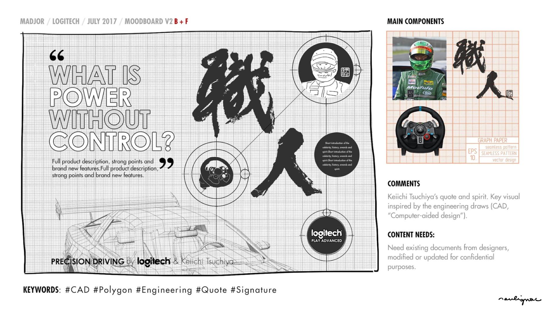 Logitech China - Global Campaign Keiichi Tsuchiya - WHAT IS POWER WITHOUT CONTROL - KEY VISUAL RESEARCHES & MOODBOARD - Francois Soulignac - Digital Creative & Art Direction - MADJOR Labbrand Shanghai, China