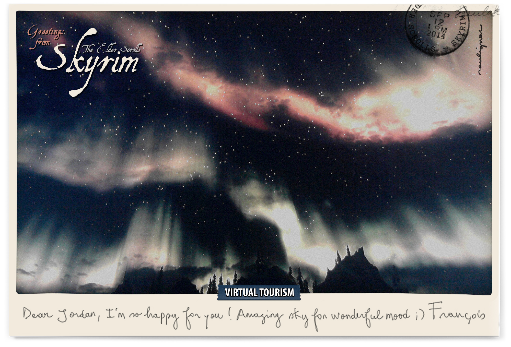 Postcards from Skyrim virtual worlds for JORDAN - Francois Soulignac - Virtual Tourism, In-game photography, February 2014