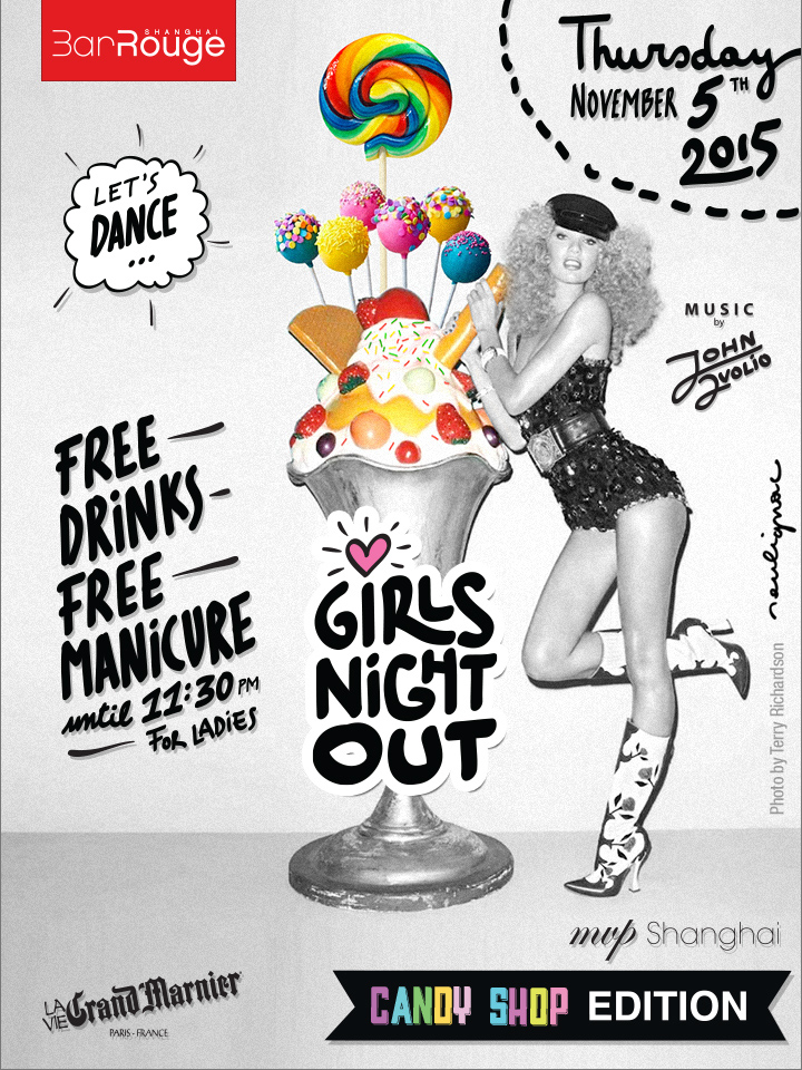 Bar Rouge Shanghai, Girls Night Out with MVP 1.0 - Photo by Terry Richardson - Artwork by Francois Soulignac, VOL Group China