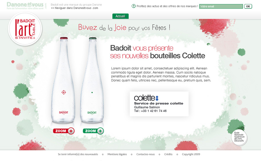Francois Soulignac - Badoit / ENSAD - Colette bottles - Website L'art s'invite à table