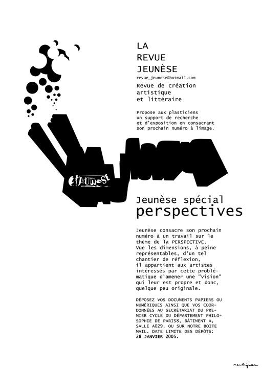 Francois Soulignac - Revue Jeunèse Paris 8 - Appel à contributions - Numéro spécial Perspectives FACTORY