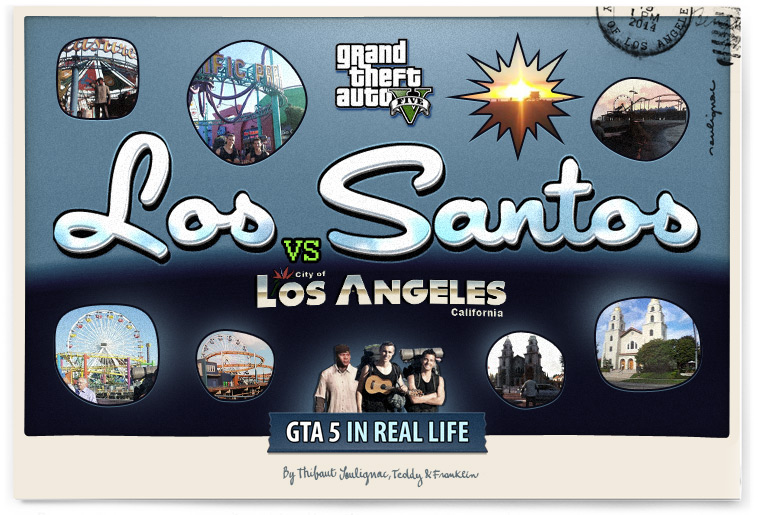 Gta in real life - Los Santos VS Los Angeles - VINTAGE POSTCARD