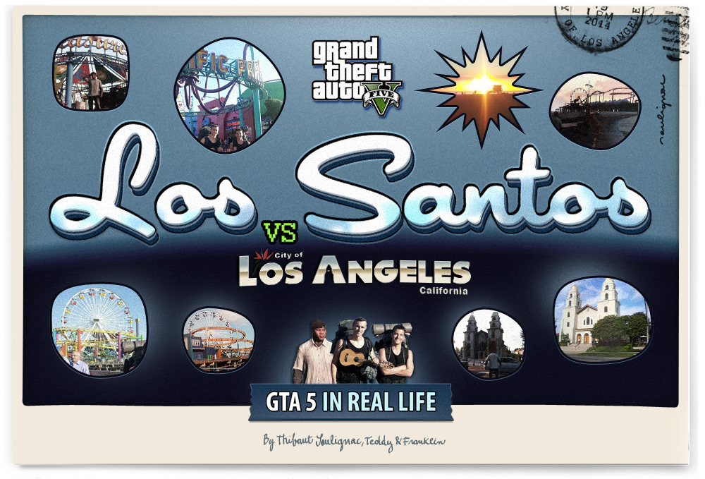 Thibaut Soulignac - GTA 5 in Real Life - Los-santos VS Los Angeles - VINTAGE POSTCARD