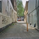 London street art, unknow tagger graffiti artist in a little street