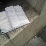 Sad things on the Streets of Paris, Agenda cahier de texte perdu abandonné