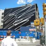 New York abstract street marketing at Manhattan on big wall building