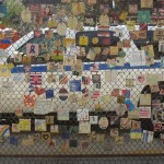 Wall post-it memories on the grid, about 9/11 for fireman and policeman