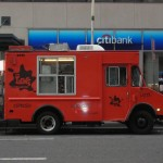 NY Street food, Red truck food (NYC love coffe) served espresso, cappuccino and coffee latte