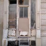 Paris Architecture, old vintage door métro Place des fêtes