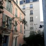 Paris Architecture, Little impasse dead-end pink house métro Jourdain