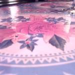 Paris Design, Table café terrasse pink flower vintage Métro Jourdain