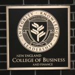New england college business and finance sign