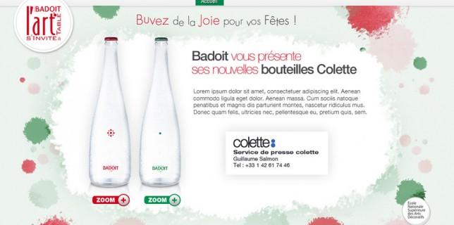 Francois Soulignac - Badoit / ENSAD - Colette bottles - Website L'art s'invite à table